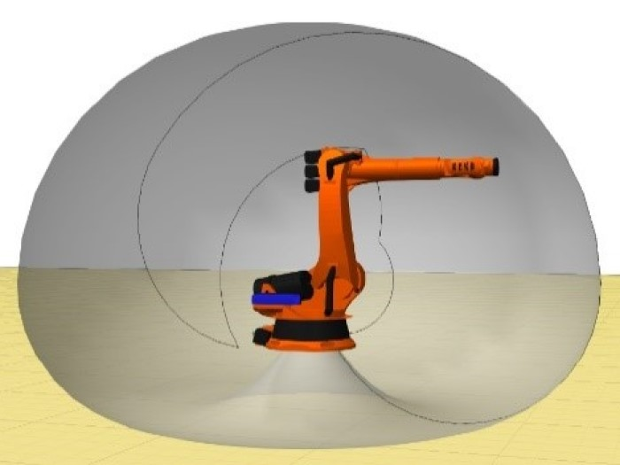 Illustration of the reach of a cargo robot