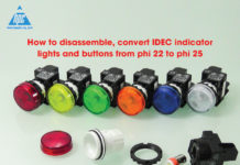 How to disassemble, convert idec indicator lights and buttons from phi 22 to phi 25