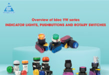 Overview of Idec YW series indicator lights, pushbuttons and rotary switches