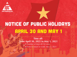 Hao Phuong announces the holidays for the Day of April 30 and the Day May 1, 2021